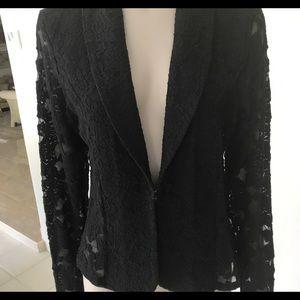 INC Black Lace Blazer Jacket Size Medium NWT